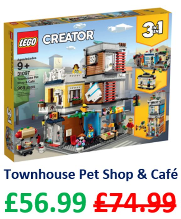SAVE £18 - LEGO CREATOR 3-in-1 - Townhouse Pet Shop and Cafe (31097)