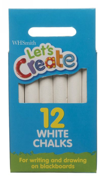 WHSmith Let's Create White Chalks (Pack of 12) for 49p!