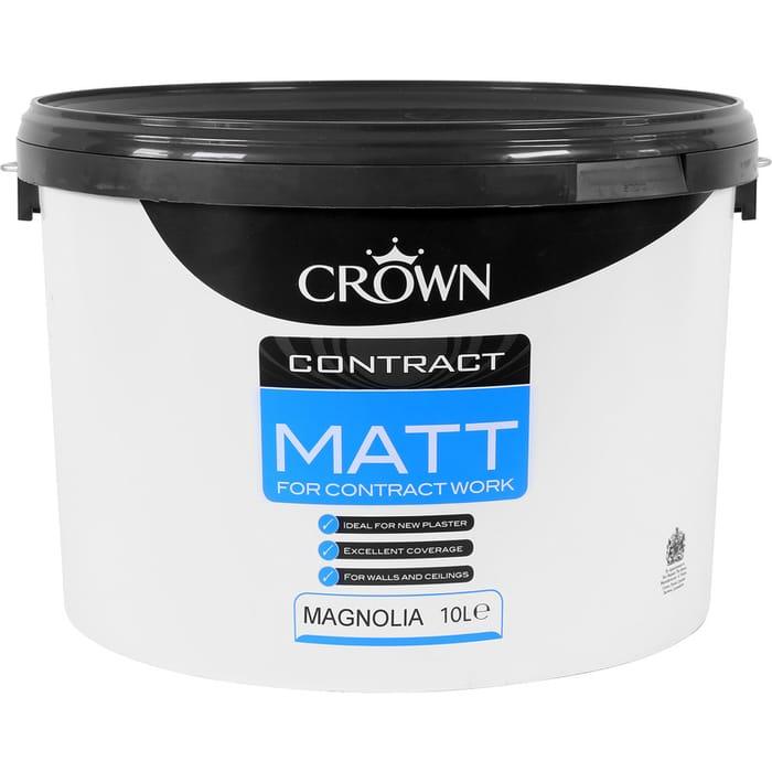 2 X 10L Crown Contract Matt Emulsion : White or Magnolia