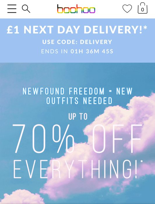 £1 next Day Delivery with Voucher Code at Boohoo