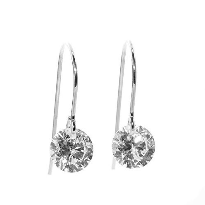 Silver Sparkling AAA Cubic Zirconia Earrings