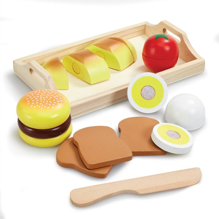 Wooden Serving Tray, Knife and Five Food Items.