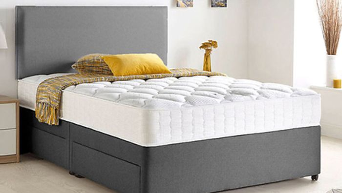 Grey Chenille Divan Bed, Headboard & Memory Mattress-Optional Storage - 6 Sizes