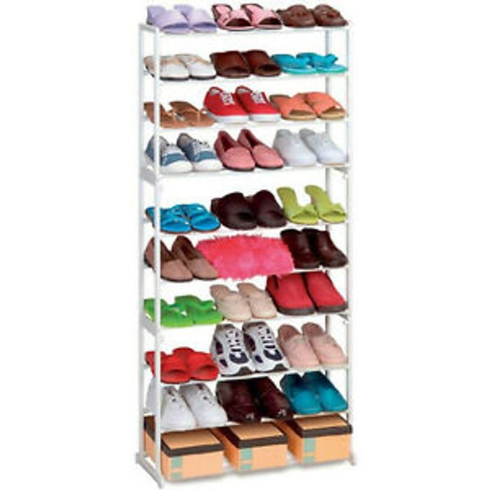 New 10 Tier White Shoe Rack Storage Organiser