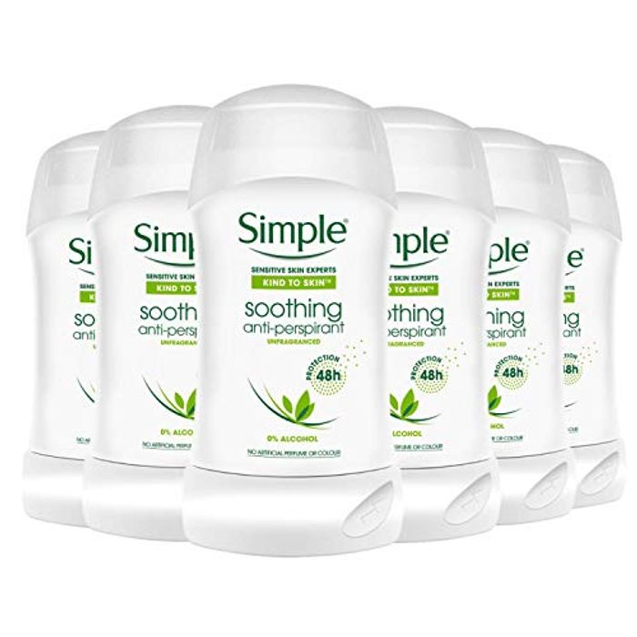 Simple Soothing Womens Roll on Body Deo Stick Long Lasting Pack (6 X 40ml)