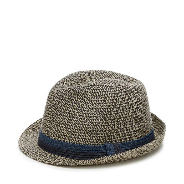 Mantaray - Navy Two Tone Straw Trilby Hat