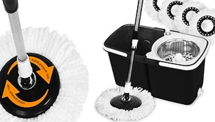 360 Spin Mop & Bucket with 4 Mop Heads