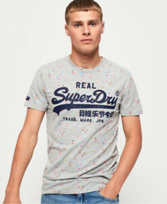 Cheap Superdry Mens Vintage Logo All over Print mid T-Shirt Only £12.5!