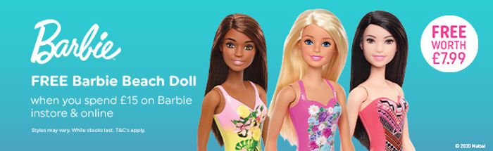 FREE Barbie Beach Doll Worth £7.99 With £15 Spend on Barbie + Free Delivery