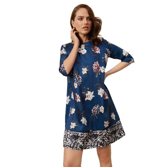 James Lakeland - Blue Floral Leopard Dress