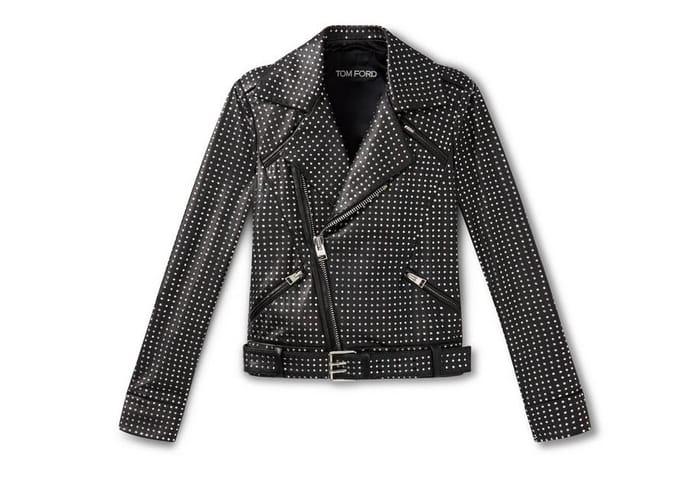 Crystal Embellished Leather Biker Jacket