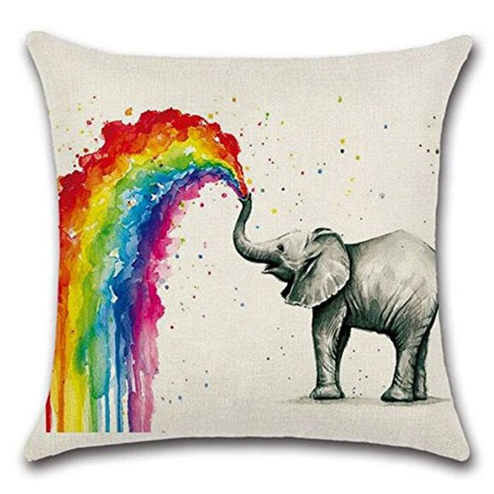 Colorful Elephant Printed Linen Throw Pillow Cover
