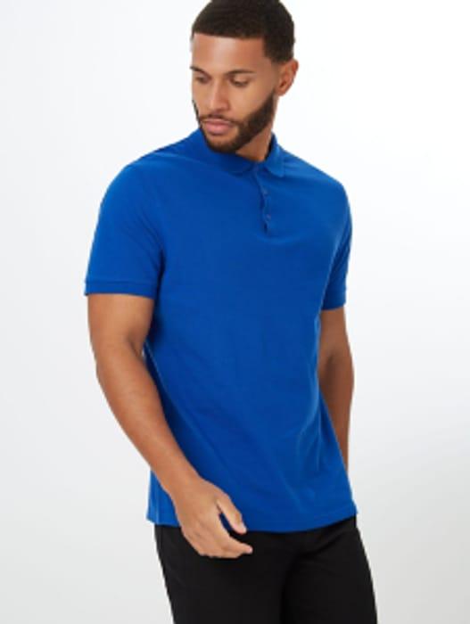 Cheap Blue Pique Short Sleeve Polo Shirt Only £6