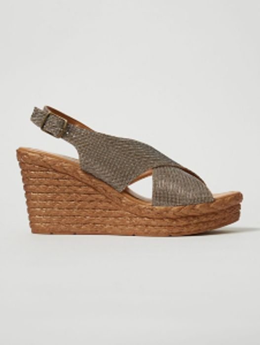 HomeWomenWomen's Shoes & Boots Gold Crossover Leather Wedge Espadrilles