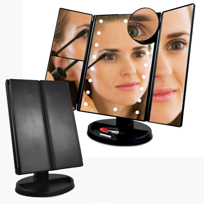 Tri Fold LED Make Up Mirror With Magnifier - £10 Delivered