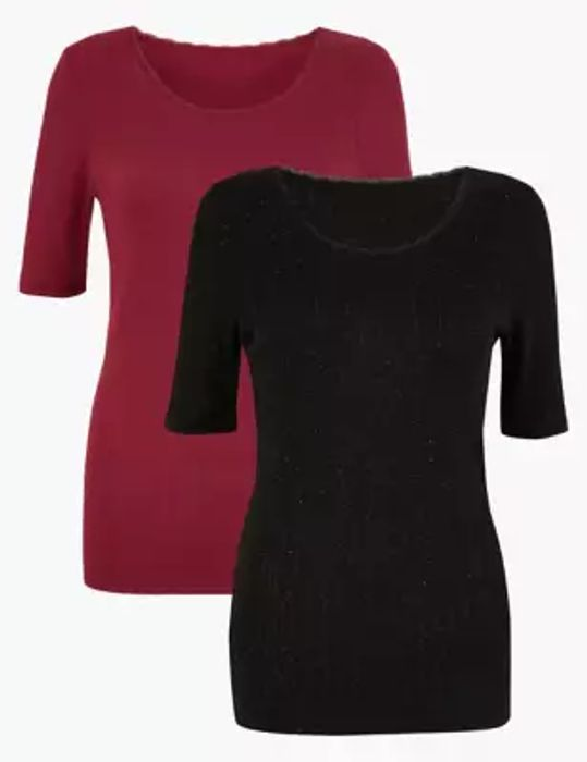 2 Pack Thermal Pointelle Tops