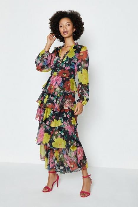 Printed Long Sleeved Tiered Midi Dress