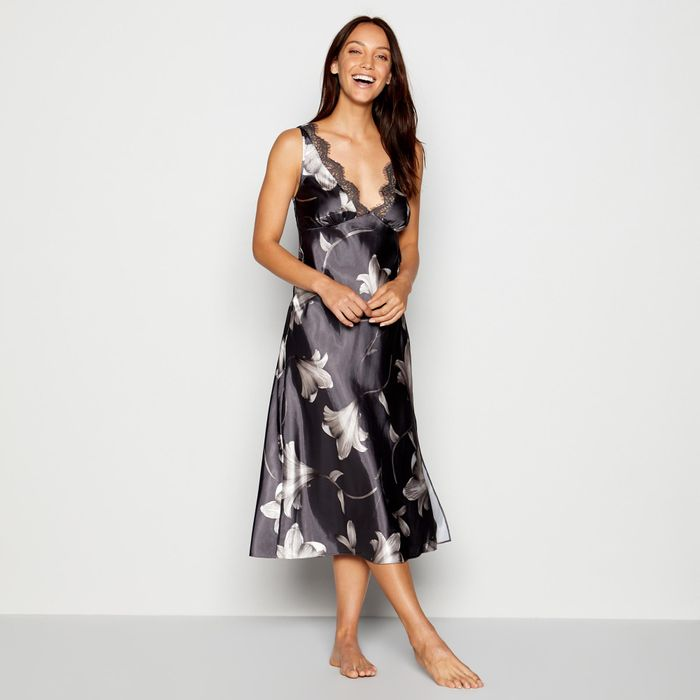 The Collection - Dark Grey Lily Print Long Satin Nightdress