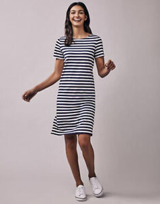 Crew Clothing Women's Breton Stripe Jersey Dress in Navy/White