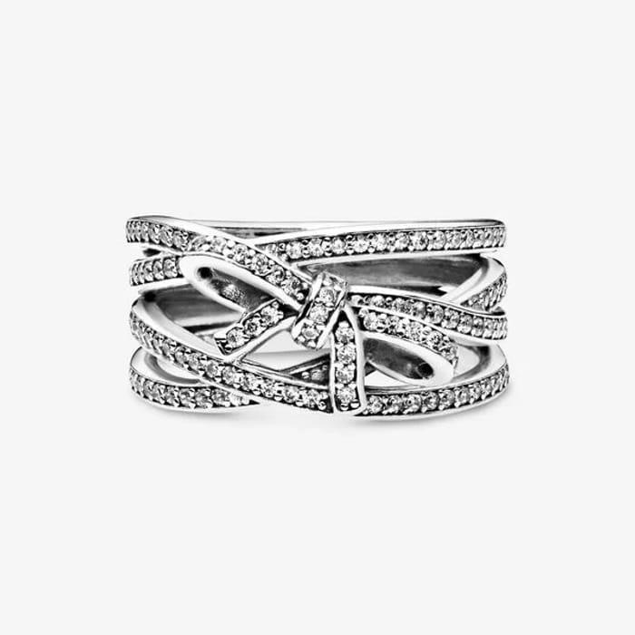 Pandora Sparkling Ribbon & Bow Ring