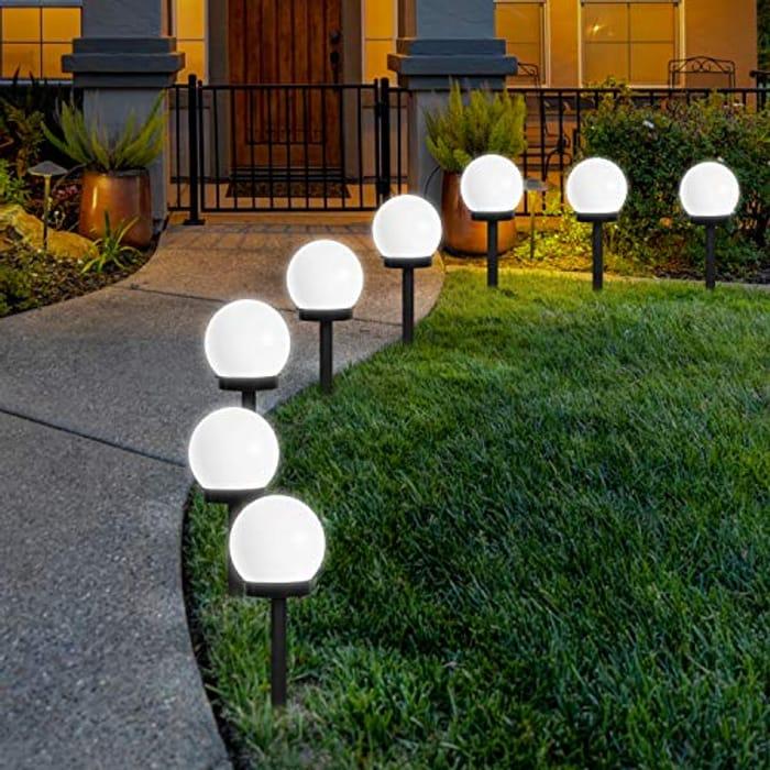 Solar Garden Path Lighting for Garden Cold White 8 Pack