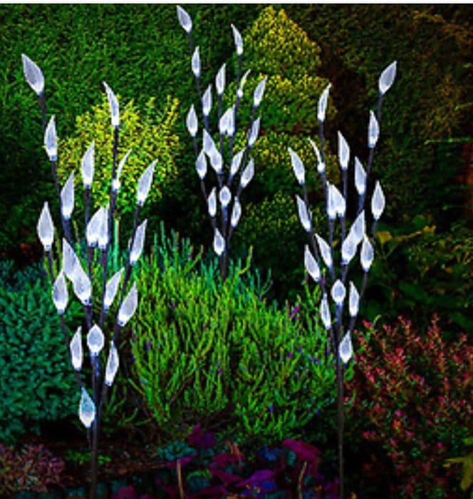 Solar Powered LED Leaf Branch Tree X 3 Each 76cm Tall