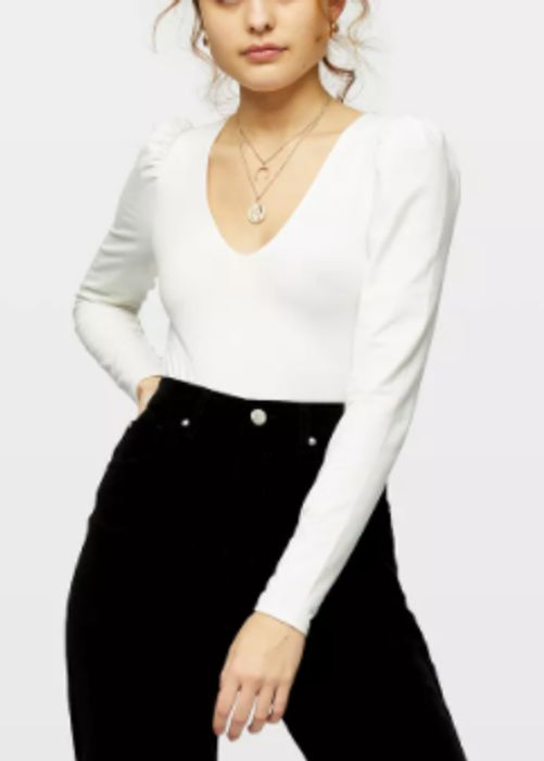 Ivory Puff Sleeve V-Neck Top