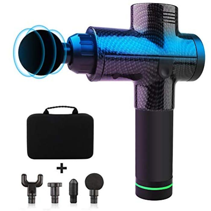 Bozaap Handheld Eletronic Massage Gun 4 Massage Heads Deep Tissue Muscle