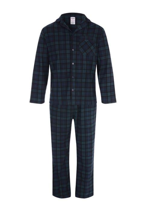 Mens Teal Check Pyjama Set