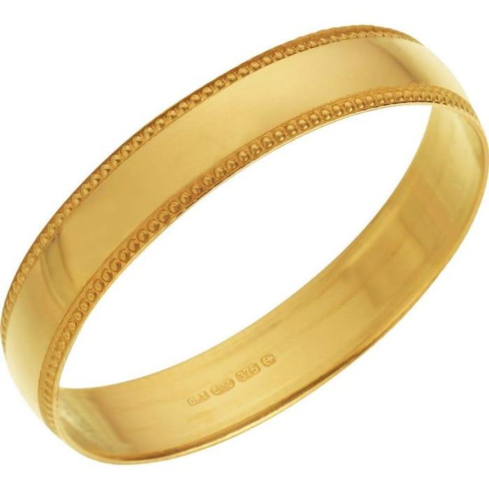 Revere 9ct Gold Plain Milgrain Wedding Ring - 4mm - N