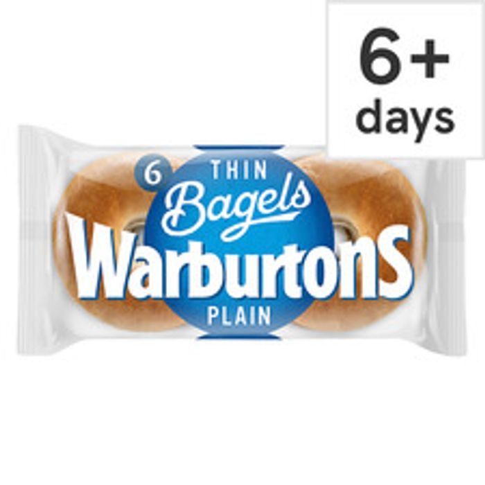 Warburtons Thin Bagels Plain 6 Pack