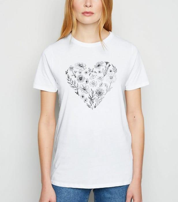 Best Price! White Wild Flower Heart T-Shirt UK 6