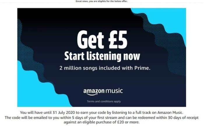 Free £5 Amazon Voucher - Stream a Song on Amazon - Eligible Prime Accounts