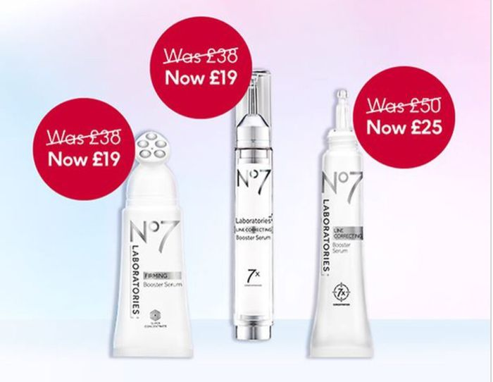 1/2 Price on All No7 LABORATORY Booster Serums 3 for 2 on Selected No7 Skincare