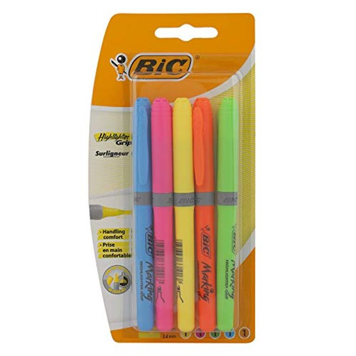 Price Drop! BIC Highlighter Grip Pens - Assorted Colours, Wallet of 5