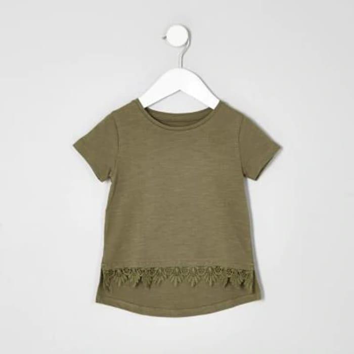Cheap Mini Girls Khaki Green Crochet Hem T-Shirt - Save £3