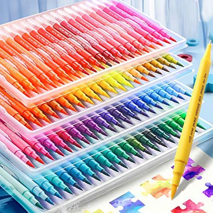 100 Dual Tip Brush Marker Pens