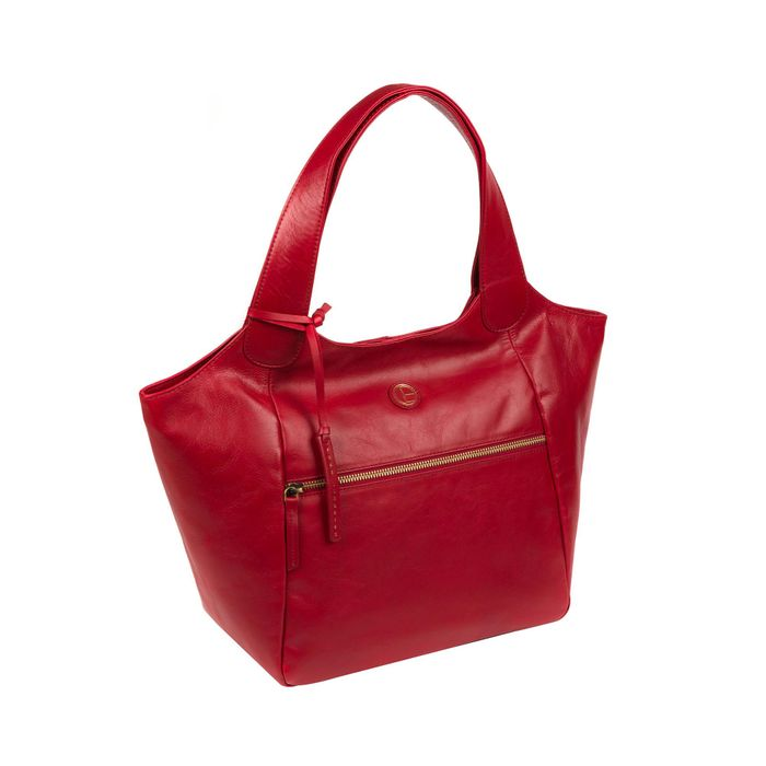 Pure Luxuries London-Vintage Red 'Loxford' Leather Tote Bag