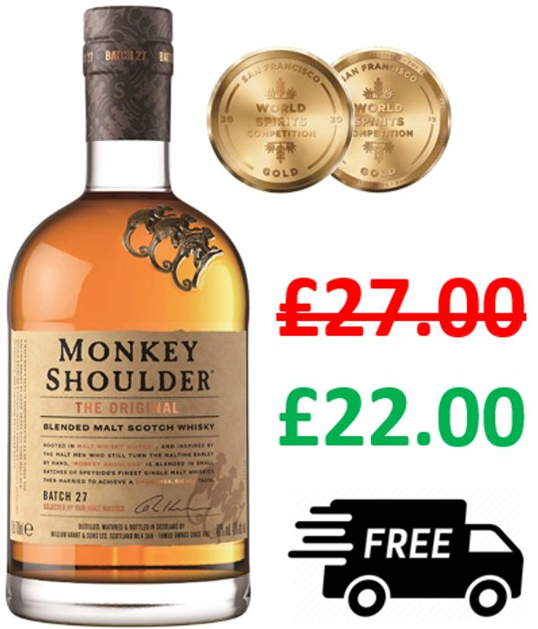 Monkey Shoulder Blended Malt Scotch Whisky, 70cl
