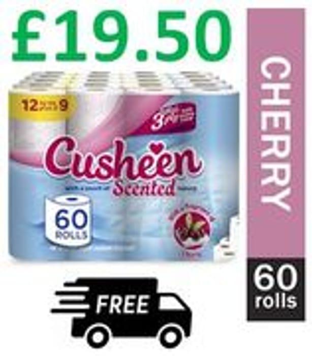 60 Cusheen Cherry Toilet Rolls
