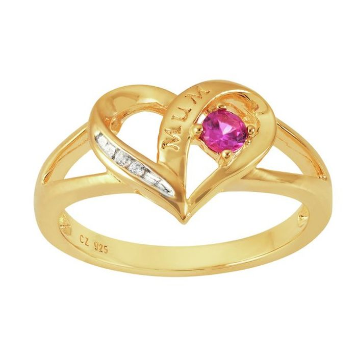Moon & Back 9ct Gold Plated Heart Shaped Stone Set Ring