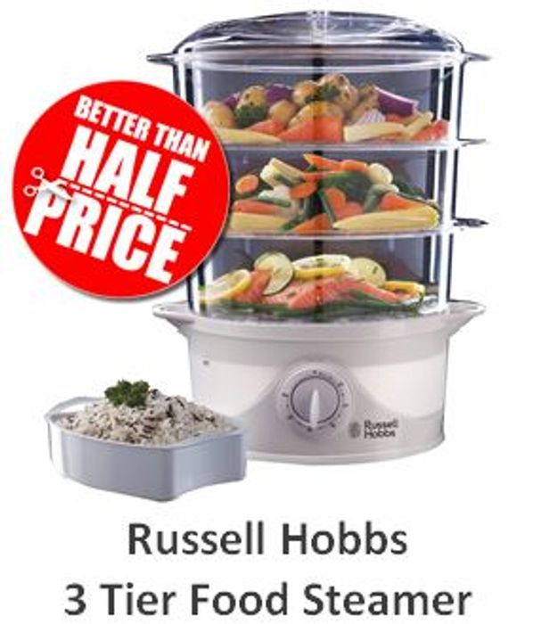 CHEAP PRICE! Russell Hobbs 3-Tier Food Steamer - Only £23.94