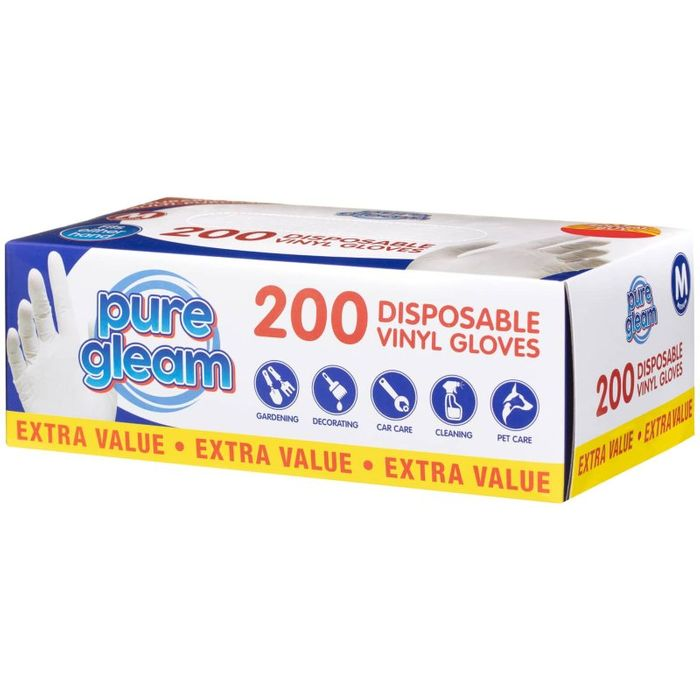 Disposable Vinyl Gloves 200pk - Reduced - Only £1!