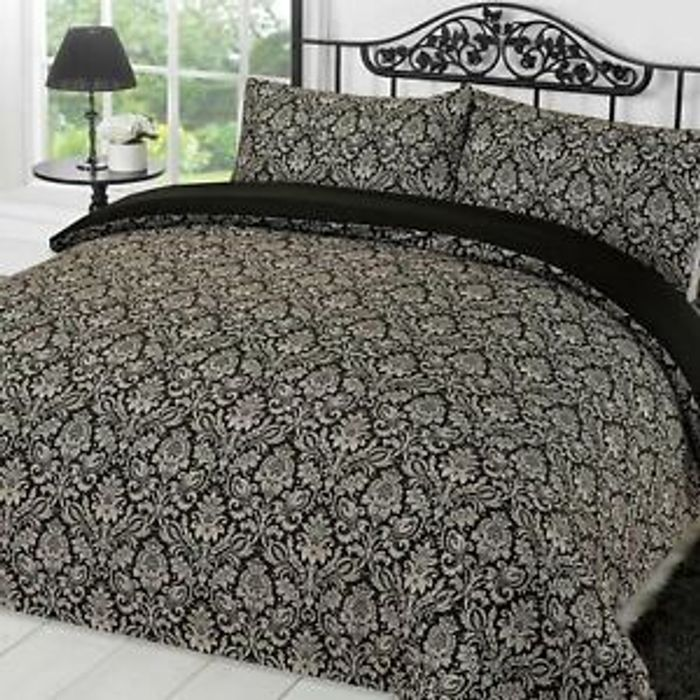 Dreamscene Damask Black / Grey Sanctuary Duvet Cover Sets From £9.99 Del