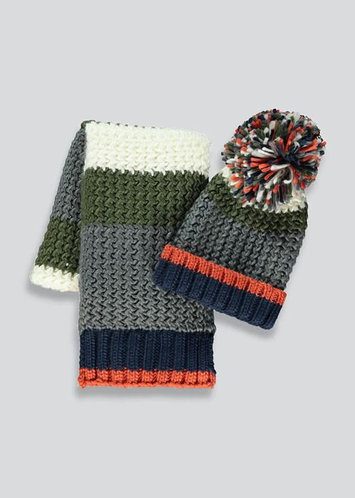 Boys 2 Piece Hat and Scarf Set (7-13yrs)