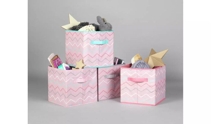 Argos Home Set of 4 Pink Zig-Zag Canvas Boxes