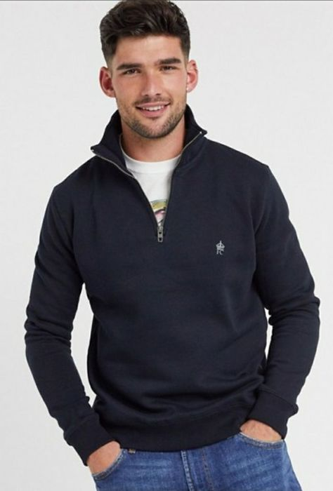 French Connection Funnel Neck Half Zip Sweatshirt