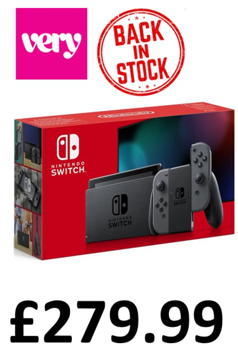 BACK IN STOCK AT VERY - Nintendo Switch Grey Console (Improved Battery)