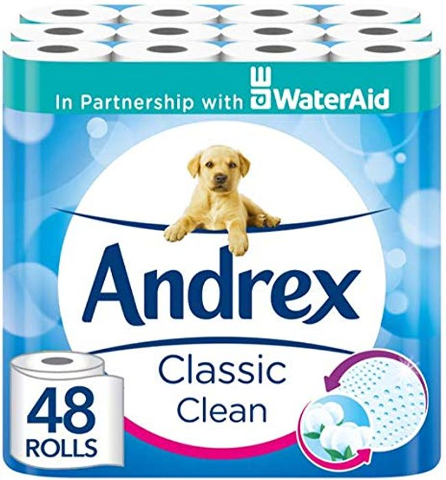 48 Andrex Classic Clean Toilet Rolls - 25% OFF & FREE DELIVERY WITH PRIME
