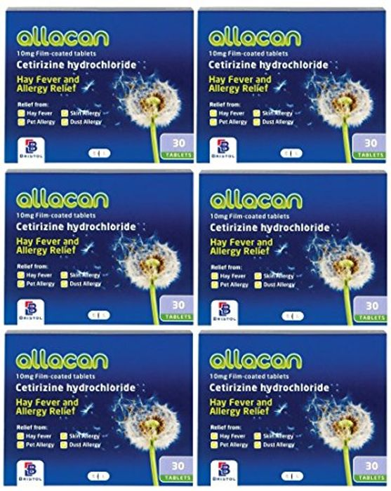 180 Tablets 30 X 6- 6 Months Supply Allacan Cetirizine Hayfever Allergy Tablets
